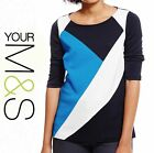 Ladies New M&S Tri -Colour Block Scoop Neck Top Size  8-18