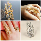 Luxury Plated Rhinestone Long Branch Flower Knuckle Wrap Finger Gold Silver Ring
