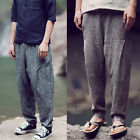 Men Summer Casual Comfy Brown Grey Linen Loose Fit Tapered Harem Pants Trousers