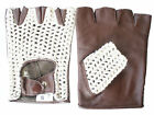 LEATHER GLOVES FINGERLESS BROWN CREAM S.M.L.oder XL NEW