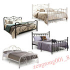 4ft6 Double 5ft King Size Ivory Black Iron Metal Bed Frame Slatted Base Bedstead
