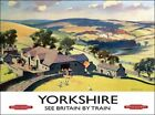 YORKSHIRE DALES COUNTRYSIDE SEE BRITAIN BY TRAIN METAL PLAQUE SIGN NOSTALGIC 412
