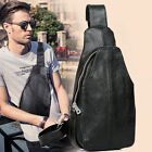 Men's Real Leather Sling Bag Chest Pack Shoulder Backpack Daypack Single Strap