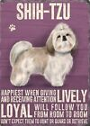 SHIH TZU DOG OTHER BREEDS LISTED METAL PLAQUE TIN WALL SIGN POSTER PICTURE 1243