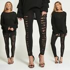 New Women's Ladies Girls Extreme Ripped Black Laggings With Lace Size 8-14