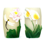 Vase Shape Flameless LED Candle With Timer Real Wax Flowers Embossed Home Candle