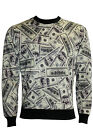 Unisex 100 Dollar Bills Notes Print Crew Neck Jumper Sweatshirt Top Pullover