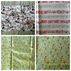 Fabric material Pigs / Hogs  Birds Wheat Flowers