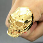 Huge Stainless Steel Skull Men's Ring Polished Gold Plated Heavy Largest Version