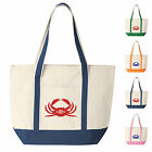 Customized Canvas Boat Tote Bag- Crab Design Monogrammed w Your Initials
