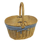 New 1940's 1950's Vtg style Large Wicker Double Flip Top Picnic Basket Bag
