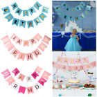 HAPPY BIRTHDAY BANNER BUNTING WITH GOLD METALLIC LETTERS WITH RIBBON l PARTY