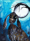 BY THE LIGHT OF THE MOON - hare rabbit PRINT A4 A3 A2 - DEEP FRAME CANVAS signed