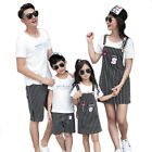 Summer family outfits Woman Girl Tops striated dress Man Boy T shirt Pants Sets