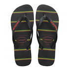 HAVAIANAS NEW Mens Top Stripes Logo Flip Flops Black/Red  BNWT