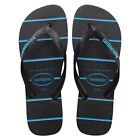 HAVAIANAS NEW Mens Black Top Stripes Logo Flip Flops BNWT