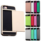 Hard Hybrid Armor Back Case Cover With Card Slot Holder For all Apple iPhone
