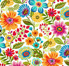 Red Orange Purple Aqua Outdoor Fabric, Gregoire Prima Floral Fabric by the yard