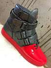 Men's Patent Blood Dipped Toe Black/Red Leather Boots