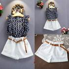 2PCS Kids Baby Girls Sleeveless T-shirt Top+Shorts Pants Outfit Clothes Set 2-7Y