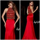 ANGELA AND ALISON 51001 TWO PIECE CROP TOP RED EVENING GOWN 618 PROM.PAGENT