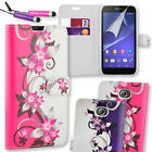 Leather Floral Print Flip Wallet Case Cover for Sony Xperia E4 + Mini Stylus Pen