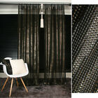 Black Mesh with Gold Shining Sheer Curtain Decorative Drapery Curtains Voile Net