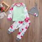 Baby Girls Flower Top Bottoms Hat 3 piece Outfit. Set. Casual. Smart. Party.Gift