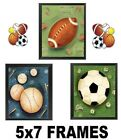 💗 Sport Ball Pictures Sports Football Baseball Soccer 5x7 Wall Hangings Decor