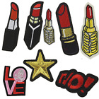 8PCS Embroidered Lipstick Patches Appliques Iron On Patch Clothing Accessories
