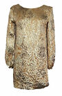ZARA Womens GOLD Jaquard Mini Tunic 1970s Long Sleeve Dress UK S £49.99