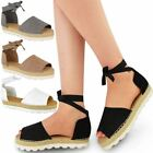 New Womens Ladies Lace Up Platform Espadrilles Summer Sandals Holiday Shoes Size