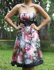 NEW Black Silk Oriental Red Floral Print Strapless Designer Cocktail Party Dress