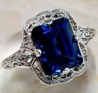 Huge Natural 3.5ct Tanzanite 925 Silver Ring Women Wedding Engagement Size6-10