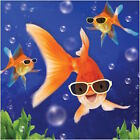 FIZZY POP 3D HOLOGRAPHIC BIRTHDAY GREETING CARD FUNNY GOLDFISH WITH SUNGLASSES