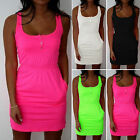 Solid Womens Square Neck Long Vest Dress Tank Top Bodycon Pencil Dresses Clohing