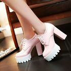 High Block Heels Womens Round Toe Lace Up Platform Court Ankle Boots Shoe Pumps
