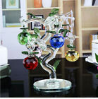 Crystal Glass Apple Tree Ornaments with 6pcs Hanging Faceted Apples Home Decor
