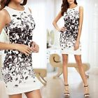 Women Elegant Floral Print Sleeveless Bodycon Evening Party Mini Summmer Dress