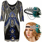 1920s Flapper Dress Gatsby 20s Charleston Sequins Beads Party Womens Fancy Dress