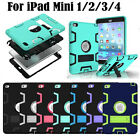 Shockproof Military Heavy Duty Rubber With Hard Stand Case For Apple iPad Mini