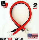"""2 AWG Gauge  3/8"""" Lug Battery Cable Inverter Cables Solar, RV, Car, Golf , ...."""