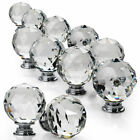 4/6/8/12/16 Clear Crystal Glass Door Knobs Drawer Cabinet Furniture Handle Knob