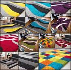 MULTI COLOURED FUNKY BRIGHT MODERN THICK HEAVY SOFT SHAGGY LIVING AREA RUG MAT
