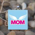 """MOM"" ANGEL WINGS MOTHERS DAY MOMMY LOVE GLASS TILE PENDANT NECKLACE KEYRING"