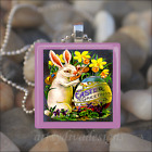 VINTAGE EASTER BUNNY RABBIT EGGS GLASS TILE PENDANT NECKLACE KEYCHAIN design 3