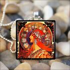 RED HAIRED GODDESS Alfons Alphonse Mucha ART NOUVEAU DECO GLASS PENDANT NECKLACE