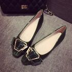 Women's Fashion Patent Leather Buckles Strap Oxfords Formal Work Flats Shoes 4-9