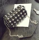 Women's PU Leather Metal Rivets Hollow Out Chain Stachel Shoulder Bag Europe