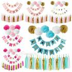 Happy Birthday Banner Set Kit Paper PomPom Tassel Wedding Garland Party Decor